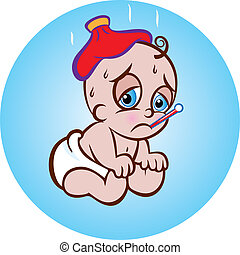 Sick Baby - vector illustration of a cute sick sitting baby...