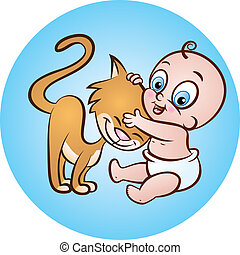 baby with kitty - vector illustration of cute sitting baby...