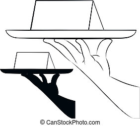 Here you are! - outlined illustration of hand holding blank...