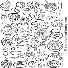 foods - vector illustration of food collection in black and...