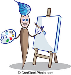 Paint brush mascot - Vector illustratin of Paint brush...