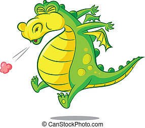 bless you - vector illustration of  a sneezing dragon