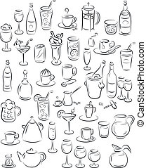 Drinks - vector illustration of beverage collection in black...