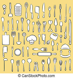 kitchen utensil set - Vector illustration of cooking utensil...