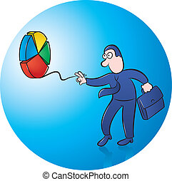 pie chart yoyo - Businessman playing with pie chart yoyo