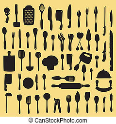 cooking utensil set - Vector illustration of cooking utensil...