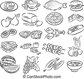 foods - vector illustration of food collection in line art...