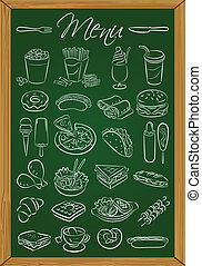 Food menu on the chalkboard - Vector illustration of food...
