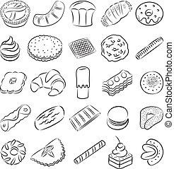 Cookies - vector collection of cookies in line art