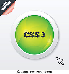 CSS3 sign icon. Cascading Style Sheets symbol. Green shiny...