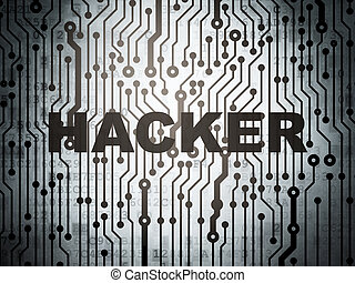 Security concept: circuit board with Hacker