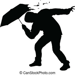 Storm Umbrella - A silhouette of a man's umbrella being torn...