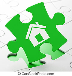 Business concept: Home on puzzle background - Business...