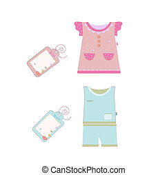 Vector collection of baby and children clothes collection.