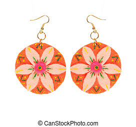 earrings made of felt in the form of a flower