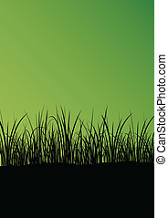 Green grass and plants detailed silhouette landscape...
