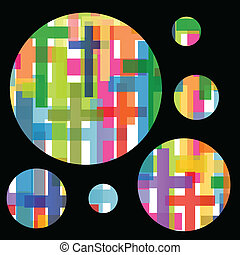 Christianity religion cross dream bubbles mosaic concept abstract background vector illustration