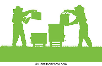 Beekeepers working in apiary vector background ecology...