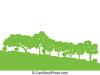 Ecology concept detailed forest tree illustration vector background card for poster