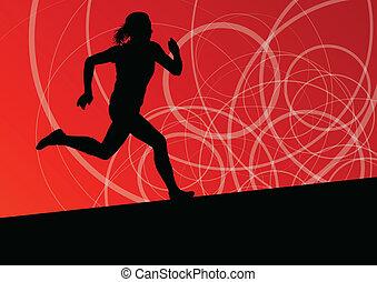 Ativo, mulheres, desporto, Atletismo, Executando, silhuetas,...