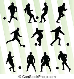 Soccer players silhouette vector background concept set for...