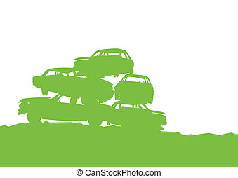 Junkyard, waste, dump green ecology background concept waste...