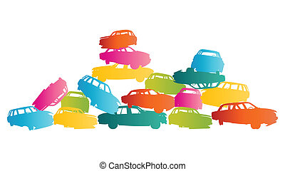 Iron scrap car junkyard vector background landscape concept...