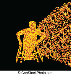 Man in wheelchair vector abstract background concept for...