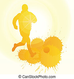 soccer players silhouette vector background concept with ink...