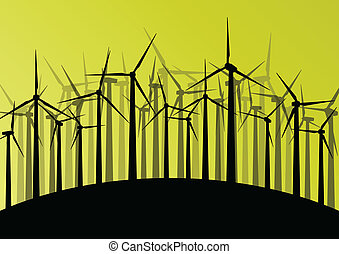 Wind electricity generators and windmills detailed ecology electricity silhouettes illustration collection abstract background vector concept
