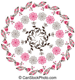Circular  floral pattern, vector illustration. Cute template, cover
