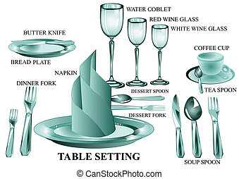 table setting - set of table setting isolated on a white...