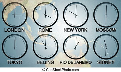 24h World time zone - Time in 8 capitals, earth spinning in...
