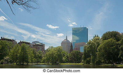 Time lapse Boston Public Garden - Time lapse zoom in pond in...