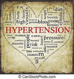 Coração, conceito, grunge, Dado forma, hipertensão, palavra,...