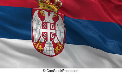 Flag of Serbia - seamless loop - Flag of Serbia gently...