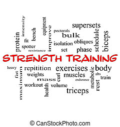 Strength Training Word Cloud Concept in red caps