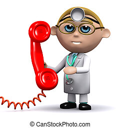 3d Phone the doctor - 3d render of a doctor holding a red...