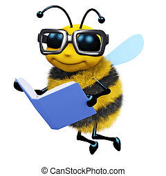 3d Bee student - 3d render of a bee reading a book
