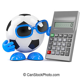 3d Football calculates - 3d render of a football and a...