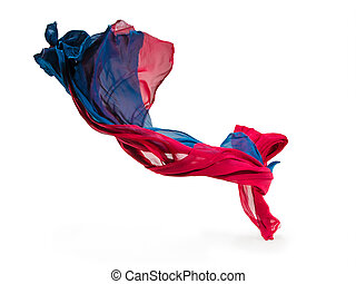 abstract pieces of textile motion - pieces of red and blue...