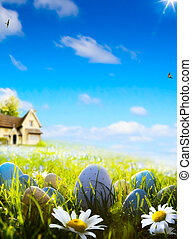 art  easter eggs on spring field