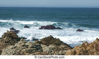 Rocky coast off northern California - View of coastal rocks...