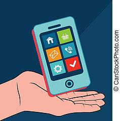Technology design over blue background, vector illustration
