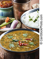 Palak tuvar dal is a spicy spinach and lentil preparation -...