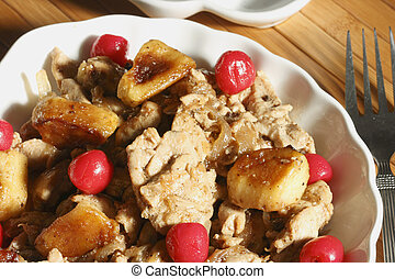 Meat Stew with Apples & Dry Fruit - Khoresht-e Seib - Meat...