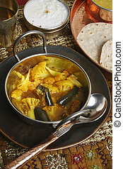 Cauliflower Brinjal Curry