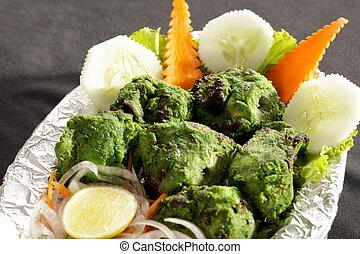 Hariyali kabab is a Punjabi style chicken tikka or kabab...