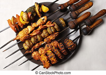 Barbecue Kebab Platter - Kebab (or originally kabab is a...