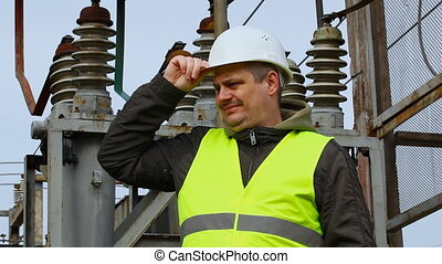 Engineer near high voltage power